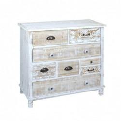 Mueble Comoda 9 Cajones Retro Vintage Madera Blanca 80 cm