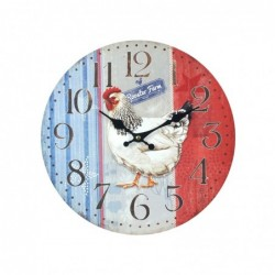 Reloj de Pared Madera Gallo Retro 34 cm