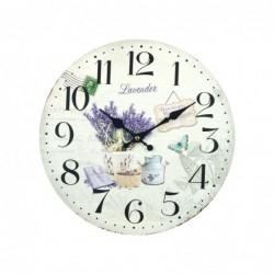 Reloj de Pared Madera Lavanda Retro 34 cm