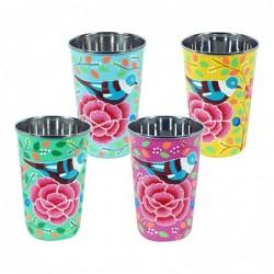 Vaso Esmalte x4 Rosas 12 cm