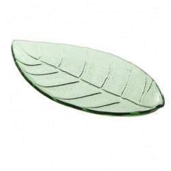 Bandeja de Cristal forma Hoja Verde 25 cm