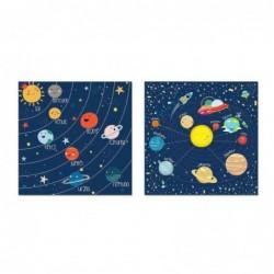 Cuadro Lienzo x2 Planetas 40x40 cm