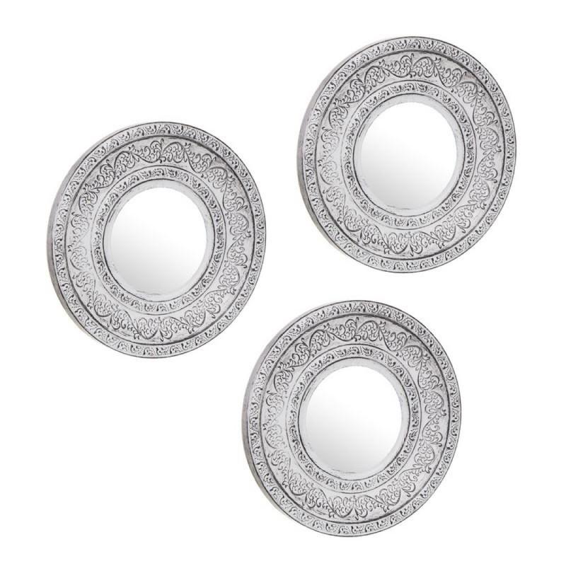 Espejo de Pared Barroco Juego 3 unidades Blanco 25 cm