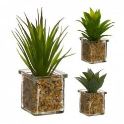 Figura Decorativa x3 Cactus Cristal 17 cm