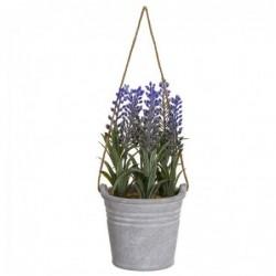 Flor Decorativa Lavanda Artificial con Maceta Cristal 15 cm