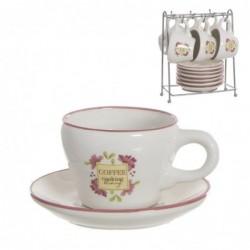 Juego Café 6 Tazas 100 ml con Plato Floral Market