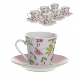 Juego Café 6 Tazas de 90 ml Floral Market Ceramica