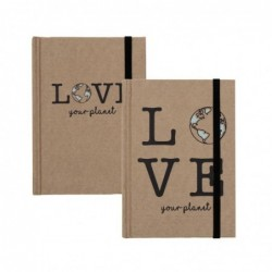 Libreta Craft x2 Modelos con Goma Love Planet Marron 14x10 cm