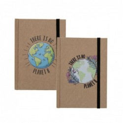 Libreta Craft x2 Modelos con Goma Planet Marron 14x10 cm