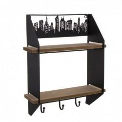 Perchero de Pared Metalico Skyline con 2 Estantes 42 cm