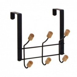Perchero de Puerta 3 Ganchos Dobles Negro 20 cm