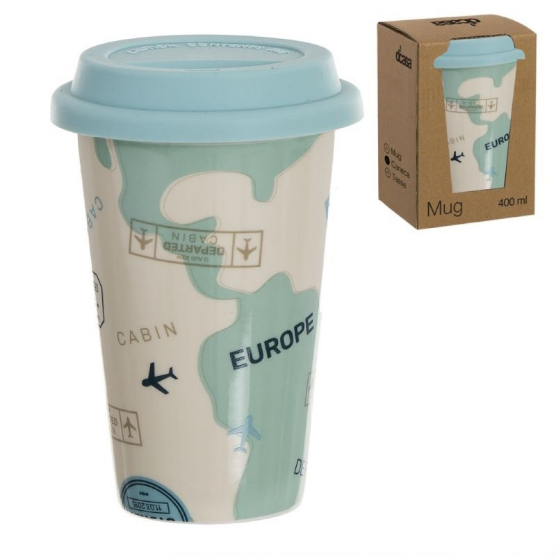 Taza Mug Ceramica 400 ml con tapa Silicona Travel