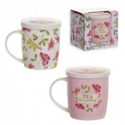 Taza Tisana x2 Colores con Filtro Floral Market