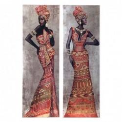 Cuadro con Bastidor Madera x2 Africanas 90x30 cm