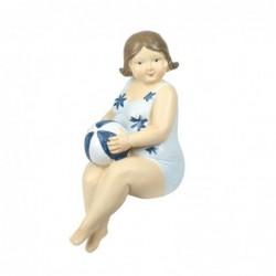 Figura Decorativa Resina Bañista Sentada 15 cm