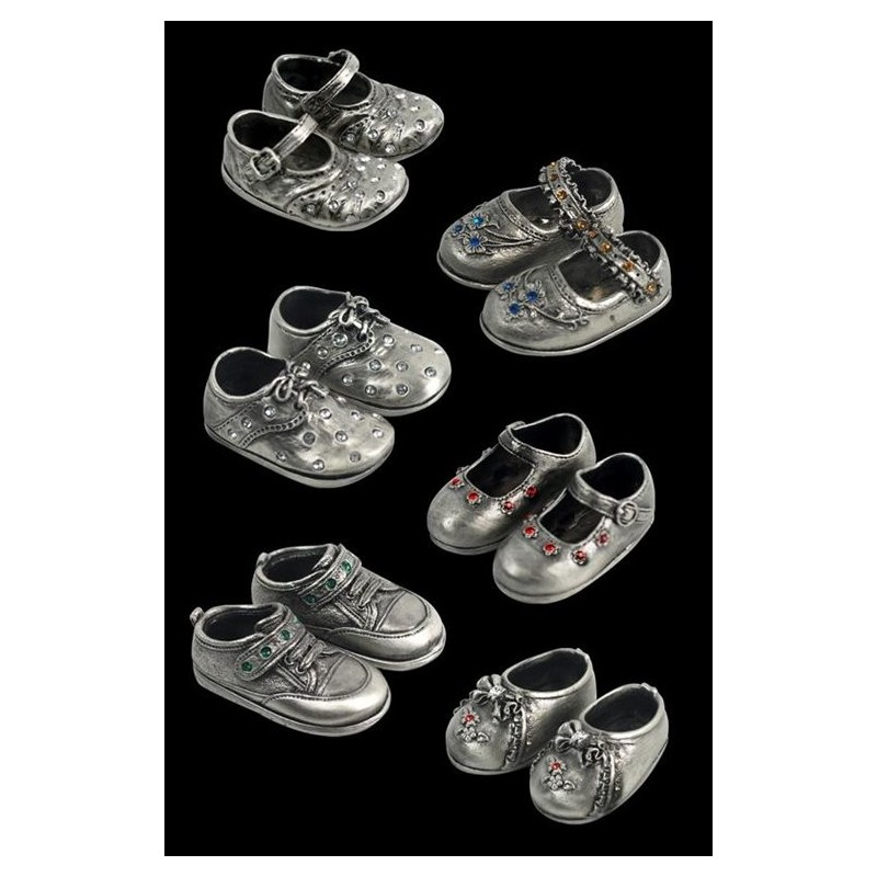 Set 6 Pares Zapatos Metalicos Decorativos 5 cm