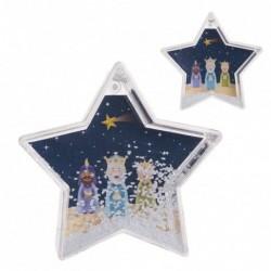 Bola de Nieve Forma Estrella con Reyes Magos Plastico Decoracion Navidad Infantil 10 cm