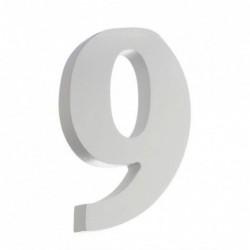 Figura Numero 9 Madera Portal Casa Blanco 12 cm
