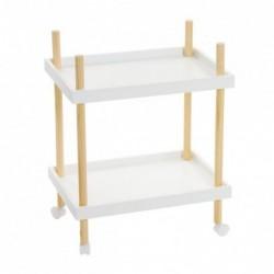 Mesa Camarera con 2 Estantes Bambu Blanca
