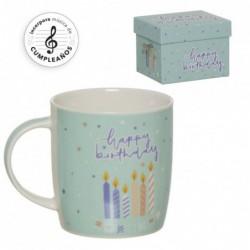 Mug con Caja de Musica Cumpleaños Feliz 12 cm
