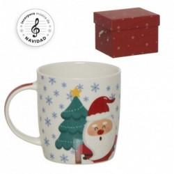 Mug con Caja de Musica Navidad 12 cm
