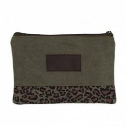 Neceser Plano Viaje Estuche Maquillaje Algodon y Poliester Leopardo Animal Print Marron 20 cm