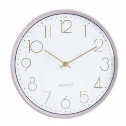 Reloj Pared Madera Redondo Rosa Blanco 33 cm