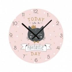Reloj Pared Redondo Rosa Gato Infantil Niña Cuqui 33 cm