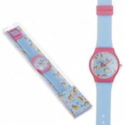 Reloj Pulsera Mujer Unisex Silicona Azul Leopardo Moderno 23 cm