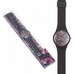 Reloj Pulsera Mujer Unisex Silicona Negro Flores Rosas Floral 23 cm