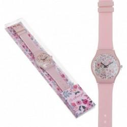 Reloj Pulsera Mujer Unisex Silicona Rosa Flores Rosas Floral 23 cm