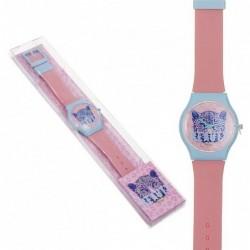 Reloj Pulsera Mujer Unisex Silicona Rosa Leopardo Moderno 23 cm