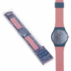 Reloj Pulsera Mujer Unisex Silicona Rosa Paisley Cachemira 23 cm