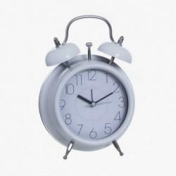 Reloj Sobremesa Blanco Imitando Despertador Vintage Retro 17 cm