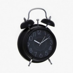 Reloj Sobremesa Negro Imitando Despertador Vintage Retro 17 cm