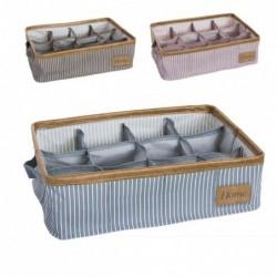 Set Organizador Cajones x3 12 Compartimentos Tela Rayas 3 Colores 39 cm