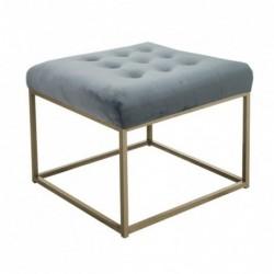 Taburete Puff Terciopelo Azul Vintage Elegante Habitacion Salon 60 cm
