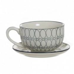 Taza con Plato Ceramica Cafe Te 270ml 13 cm