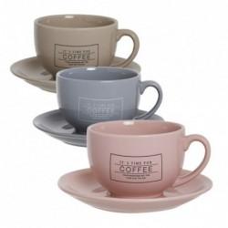 Taza con Plato x3 Ceramica 3 Colores Cafe Te 18 cm