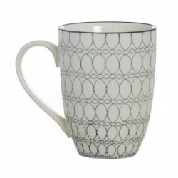Taza Mug 310ML Ceramica Blanca Mosaico Antiguo Cafe Te 14 cm