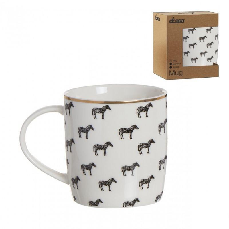 Taza Mug 350ML Blanca Zebras Safari Cafe Te Porcelana 10 cm