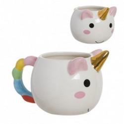 Taza Mug 400ML Porcelana Unicornio Arco Iris Cafe Te 8 cm