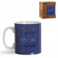 Taza Mug Grande Porcelana Azul 600ML Mensaje en Euskera Cafe Te 12 cm