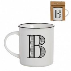 Taza Mug Porcelana Blanca Letra B Inicial Nombre Apellido Cafe Te 10 cm