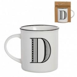 Taza Mug Porcelana Blanca Letra D Inicial Nombre Apellido Cafe Te 10 cm