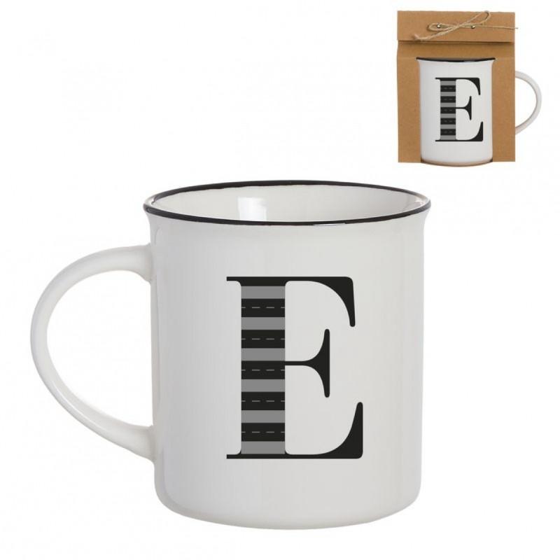 Taza Mug Porcelana Blanca Letra E Inicial Nombre Apellido Cafe Te 10 cm