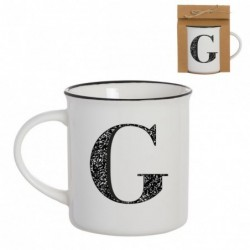 Taza Mug Porcelana Blanca Letra G Inicial Nombre Apellido Cafe Te 10 cm