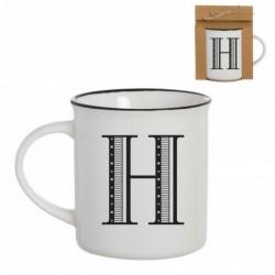 Taza Mug Porcelana Blanca Letra H Inicial Nombre Apellido Cafe Te 10 cm