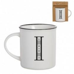 Taza Mug Porcelana Blanca Letra I Inicial Nombre Apellido Cafe Te 10 cm