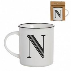 Taza Mug Porcelana Blanca Letra N Inicial Nombre Apellido Cafe Te 10 cm